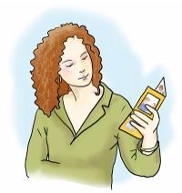 junge Frau liest in einem Flyer