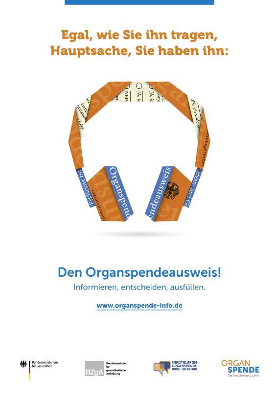 Bild zu Organspende Plakat A2 - Motiv: Kopfhörer