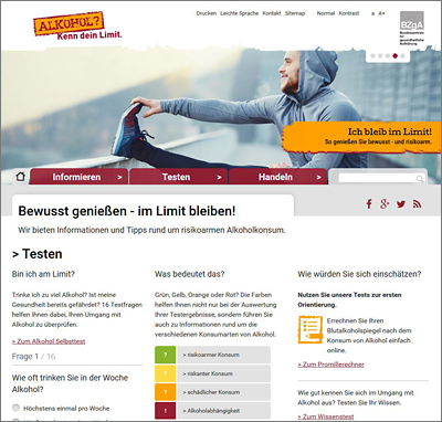 Screenshot der Internetseite www.kenn-dein-limit.de