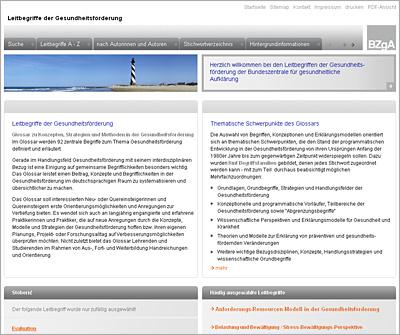 Screenshot der Internetseite www.leitbegriffe.bzga.de