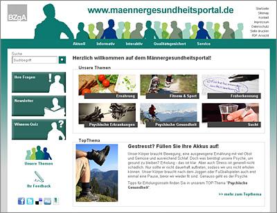 Screenshot der Internetseite www.maennergesundheitsportal.de
