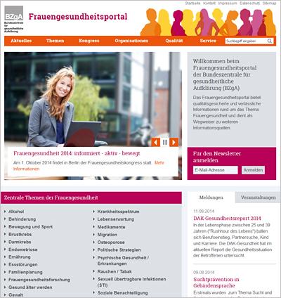 Screenshot der Internetseite www.frauengesundheitsportal.de