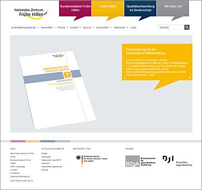 Screenshot der Internetseite www.fruehehilfen.de