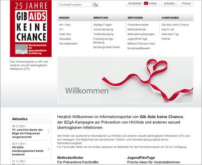 Screenshot der Internetseite www.gib-aids-keine-chance.de