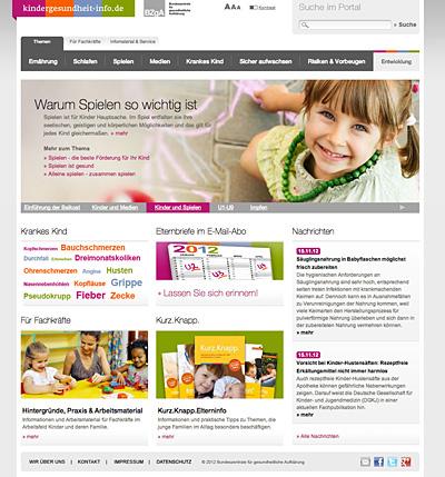 Screenshot der Internetseite www.kindergesundheit-info.de