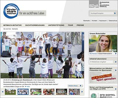 Screenshot der Internetseite www.kinderstarkmachen.de