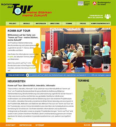 Screenshot der Internetseite www.komm-auf-tour.de