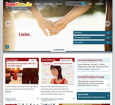 Screenshot der Internetseite www.loveline.de