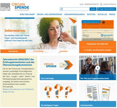 Screenshot der Internetseite www.organspende-info.de