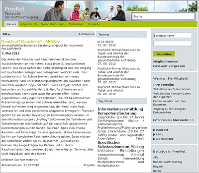 Screenshot der Internetseite www.prevnet.de