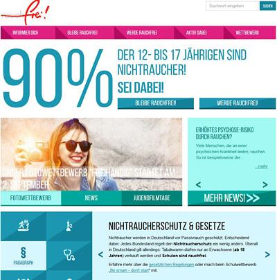 Screenshot der Internetseite www.rauch-frei.info