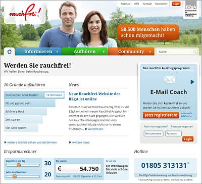 Screenshot der Internetseite www.rauchfrei-info.de
