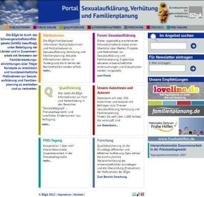 Screenshot der Internetseite www.sexualaufklaerung.de
