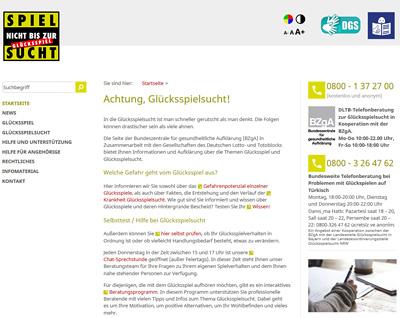 Screenshot der Internetseite www.spielen-mit-verantwortung.de