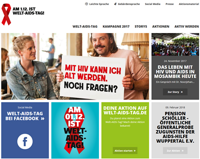 Screenshot der Internetseite www.welt-aids-tag.de